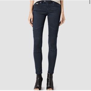 All Saints moto jeans indigo grey w28 read